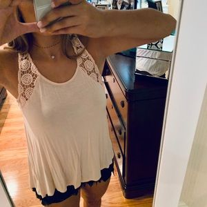 light pink comfy & casual tank see through back